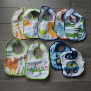 Lot of 9 Baby Bibs, Days of Week/Car/Helicopter